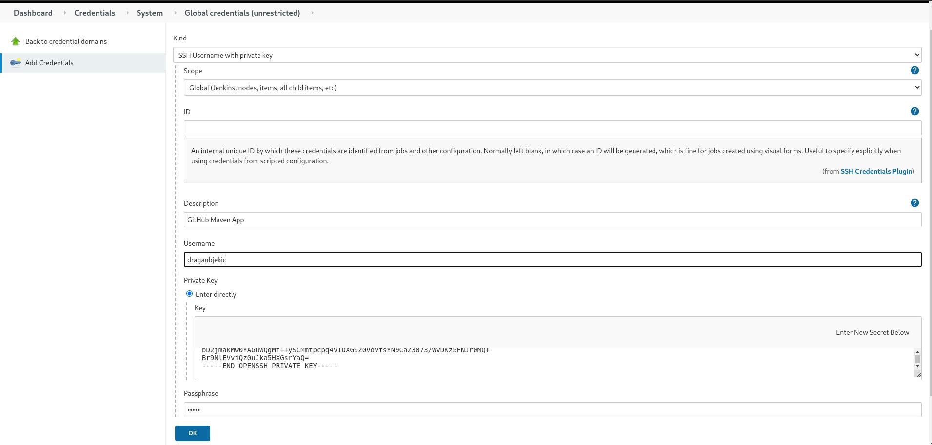 Adding SSH Credentials to Jenkins