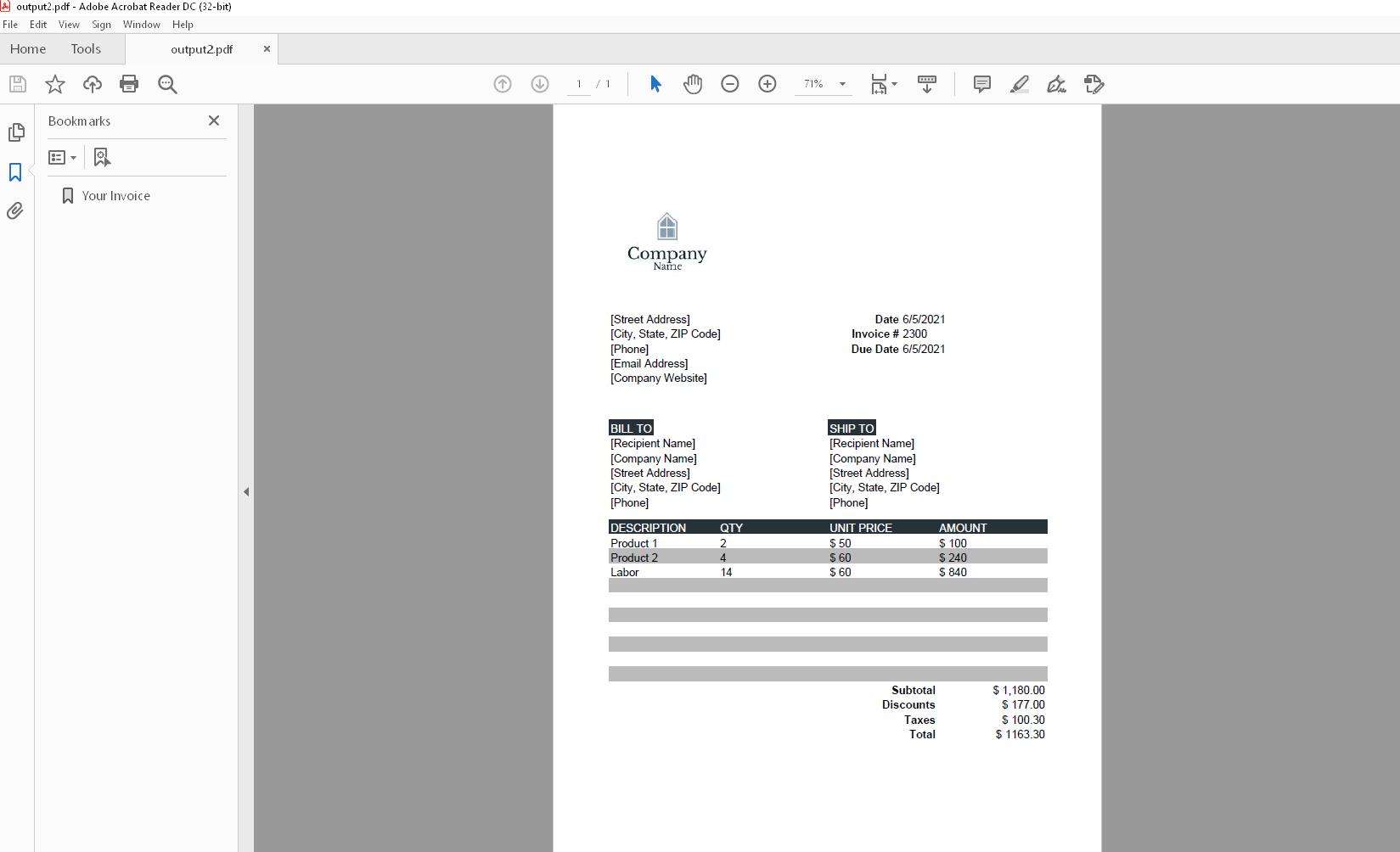 borb invoice 4